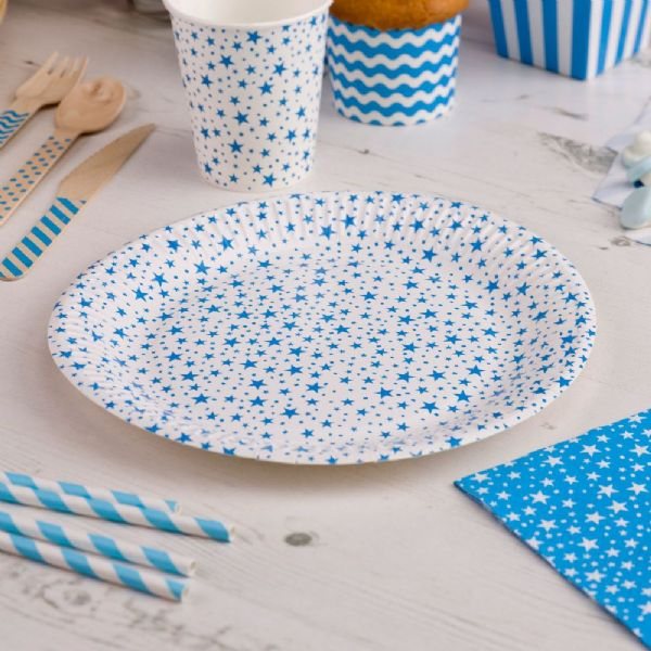 Carnival Blue Paper Plates - Stars (8)